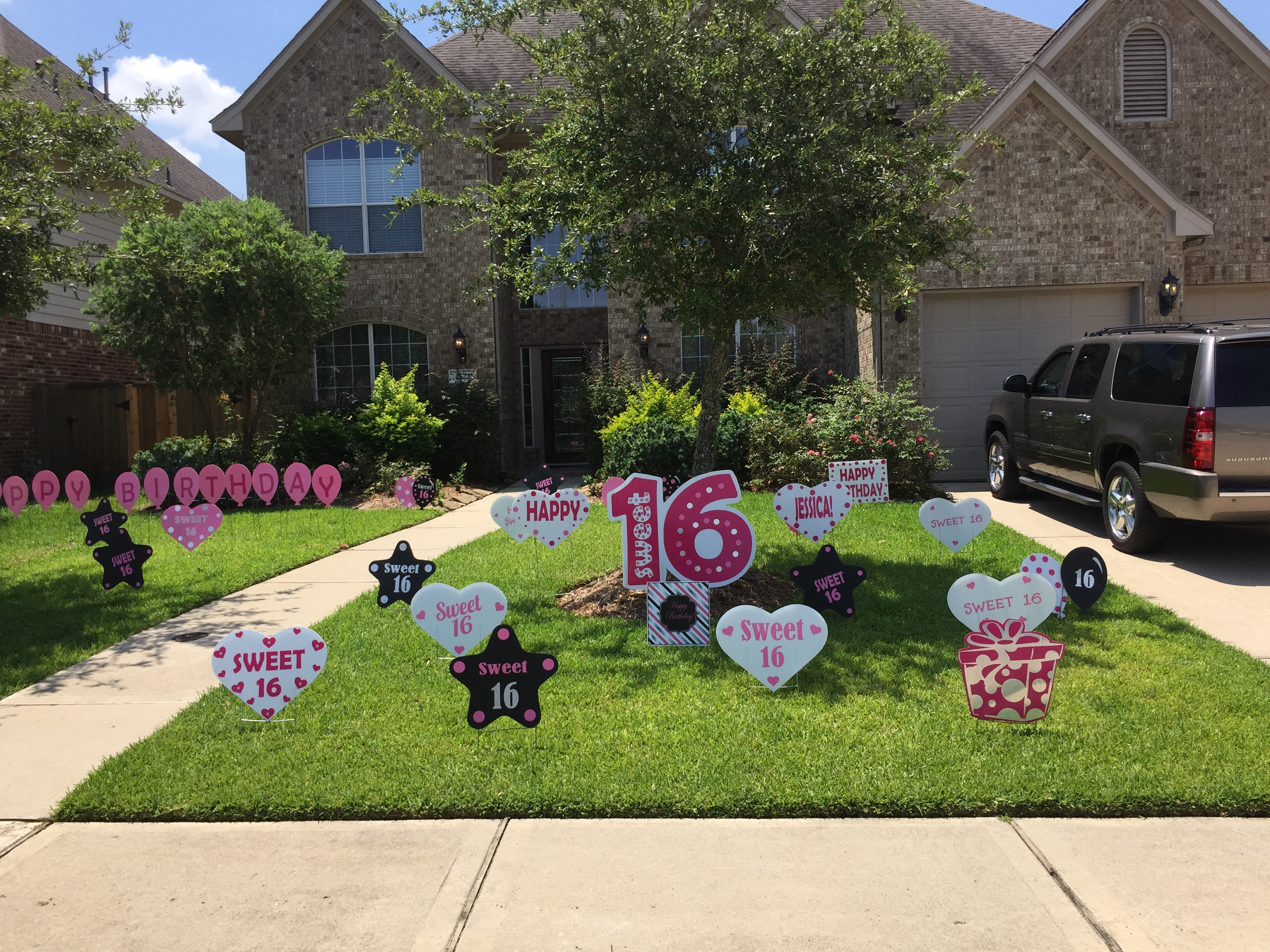 on the west side of league city in magnolia creek we managed to decorate the yard for shelby just before she came home from a birthday breakfast