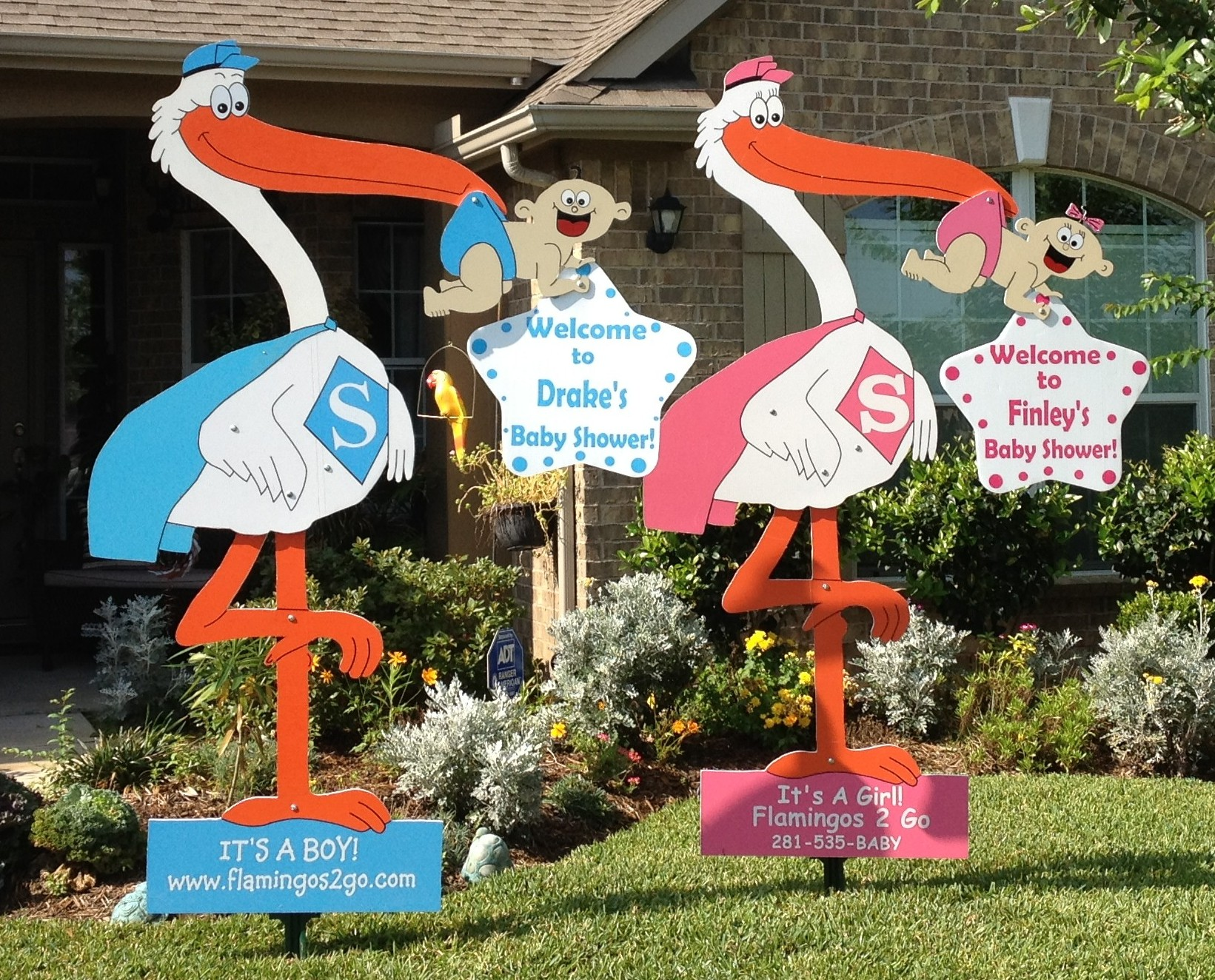 Baby Shower Stork Decorations ~ Stork yard signs flamingos go