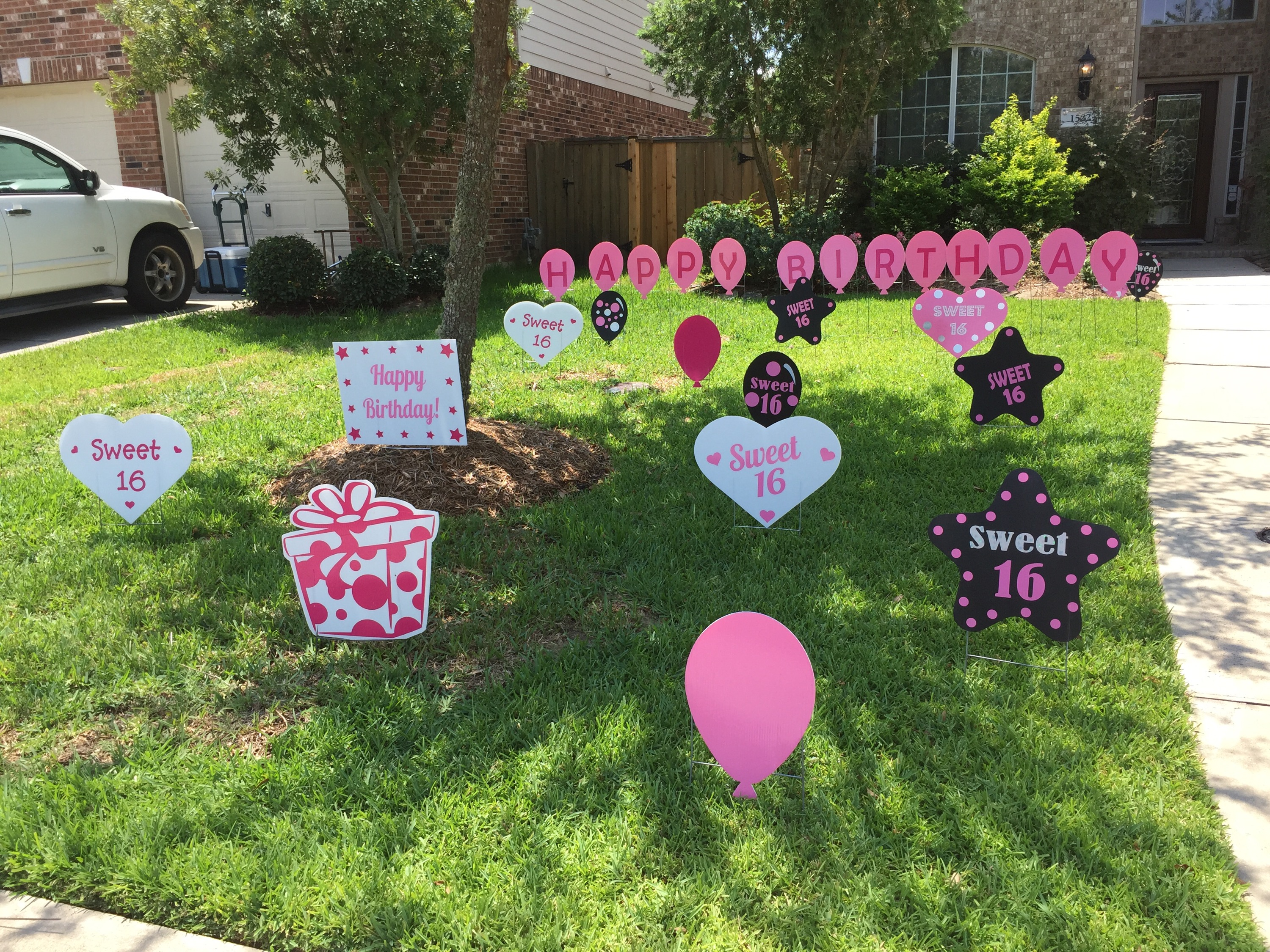 Birthday Signs Our Bling Sweet 16 Stars Balloons It Also Included Adorable Happy Pink Balloon Lawn Letters