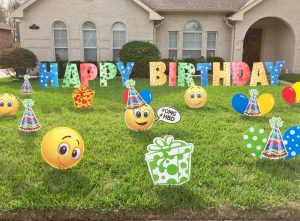 bright happy birthday phrase with emojis