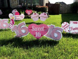 sweet 16 hearts pink glitter